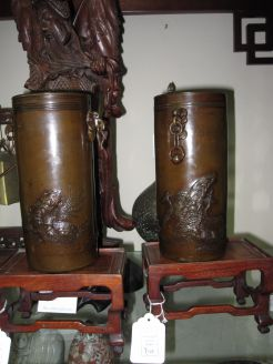 Pair of chinese 19th century bronze vases