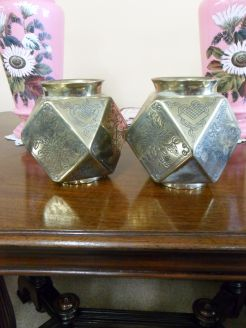 Pair of Chinese brass vases