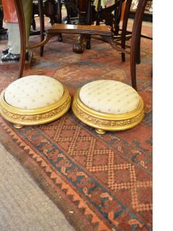 Pair of victorian gilt wood foot stools