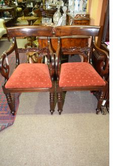 Pair of 19th century mahogany armchairs