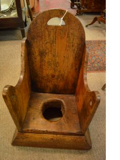19th century oak childs commode chair