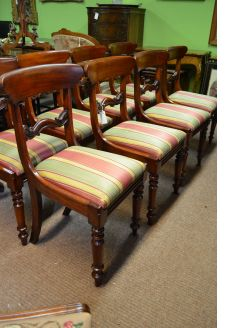 Set of eight Georgian mahogany dining chairs