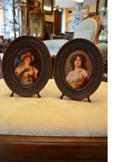 Pair of german /austrian hand painted porcelain plaques
