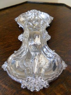 Plated victorian candle snuffer and tray