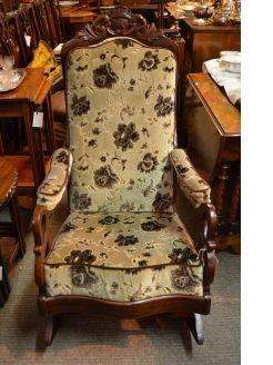 Mahogany framed rocking chair