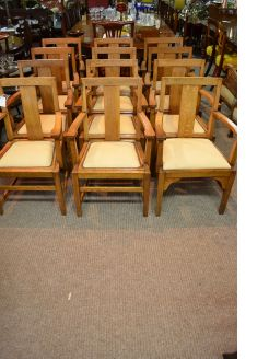 Set of twelve oak chairs