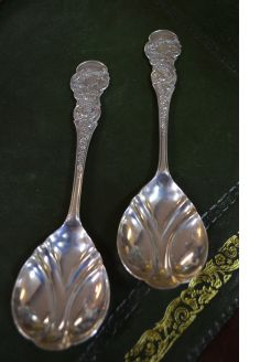 Pair of art nouveau silver spoons