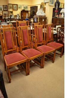 Set of seven oak dining chairs