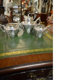 Victorian three piece silver tea set