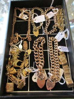 Selection of gold bracelets, chains, necklaces available