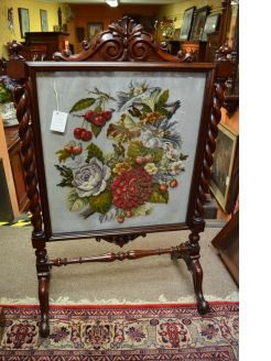 Victorian mahogany fire screen