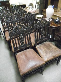 Set of ten carved oak victorian chairs