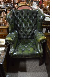 Leather ,wing back armchair