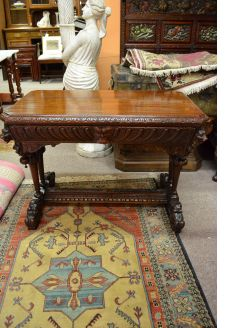 Carved Victorian oak side table