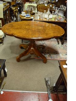 Victorian burr walnut centre table