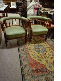Pair victorian mahogany armchairs