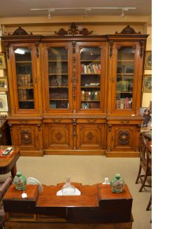19th century carved four door bookcase