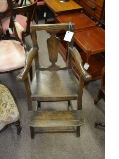 Georgian oak childs high chair