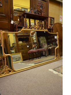Gilt framed overmantle mirror