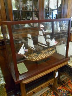 Mahogany framed Glass cased ship
