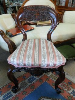Victorian mahogany carved chair