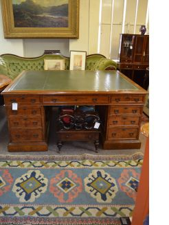 19th Century burr walnut partners desk