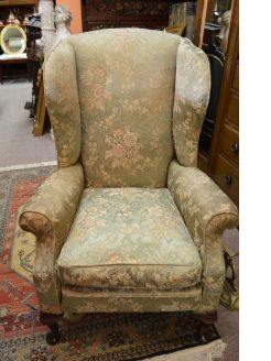 Mahogany wing back armchair