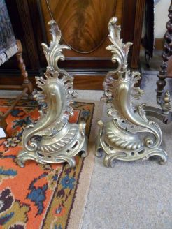 Pair of brass and iron fire dogs