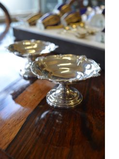 Pair of miniature silver comports