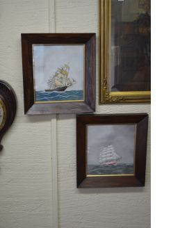 Pair of rosewood framed marine oils