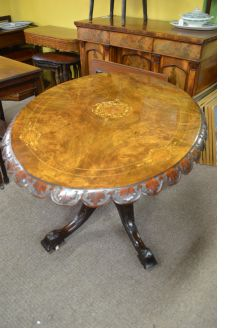 Victorian carved burr walnut centre table