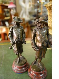 Pair of bronze figures ,signed