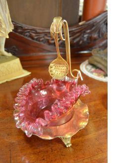 Ruby glass dish on gilt plated stand