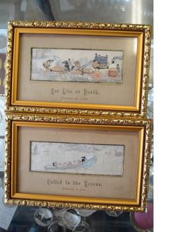 Stevengraph silk pictures in gilt frames