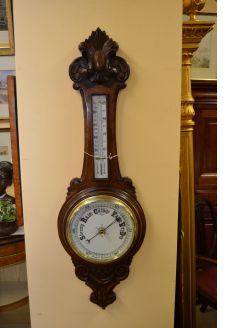Edwardian oak barometer