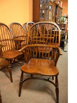 Set of six oak Windsor armchairs