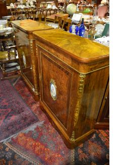 Pair of Victorian burr walnut side cabinets