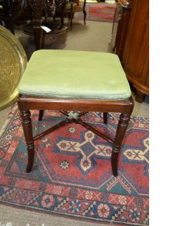 19th century mahogany / wicker stool
