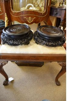 Pair of chinese carved plant stands