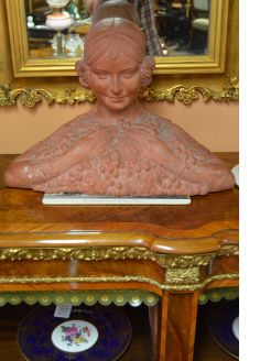 French terracotta bust ,Signed