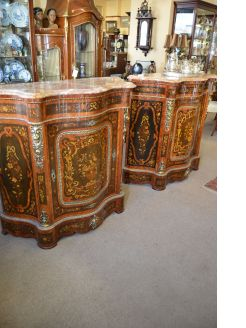 Pair of marble top side cabinets
