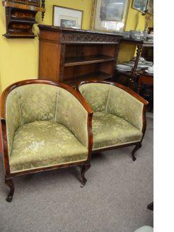 Pair of edwardian mahogany tub chairs