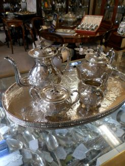 Five piece silver plated tea set