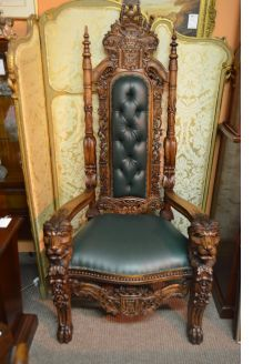 Large oak carved armchair