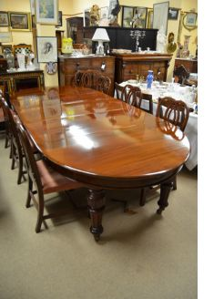 Mahogany D ended dining table with three leaves