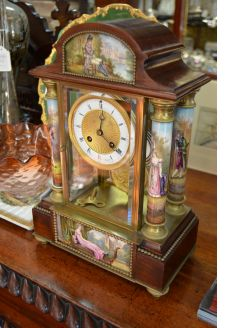 American brass & porcelain mantle clock