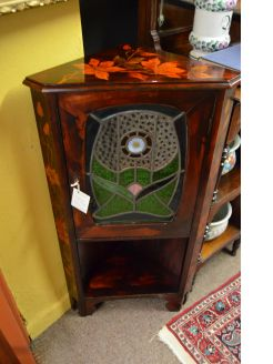 Pokerwork corner cabinet