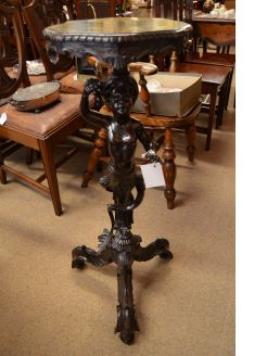 Carved mahogany 19th century torchere