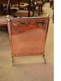 Copper and brass fire screen