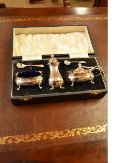 Three piece silver  condiment set